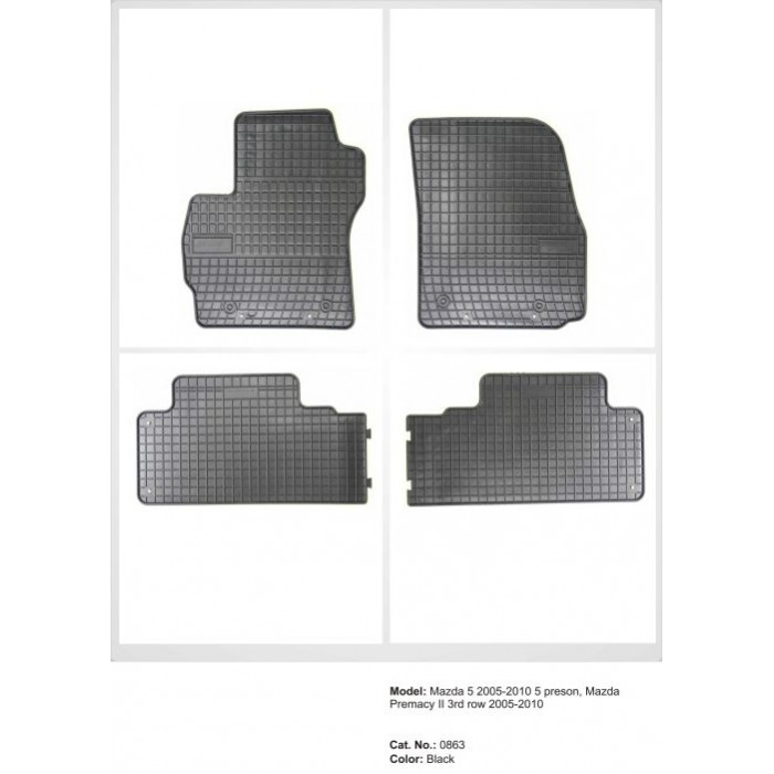 Mazda Premacy II  - 2005 - 2010  - méretpontos gumiszőnyeg garnitúra