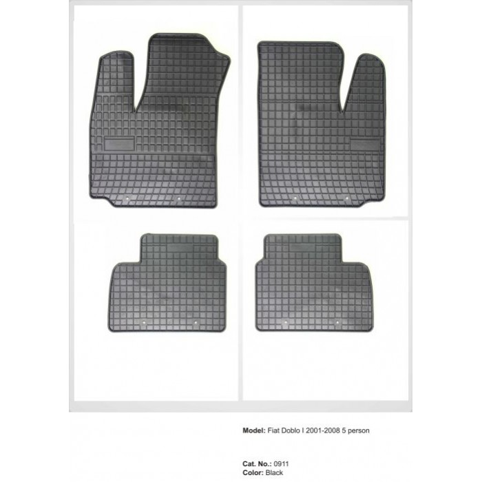 Fiat Doblo I (4 db készlet) - 2001 - 2008  - méretpontos gumiszőnyeg garnitúra